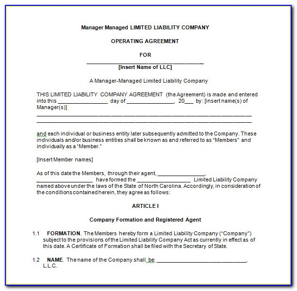 Manager Managed Llc Operating Agreement Template