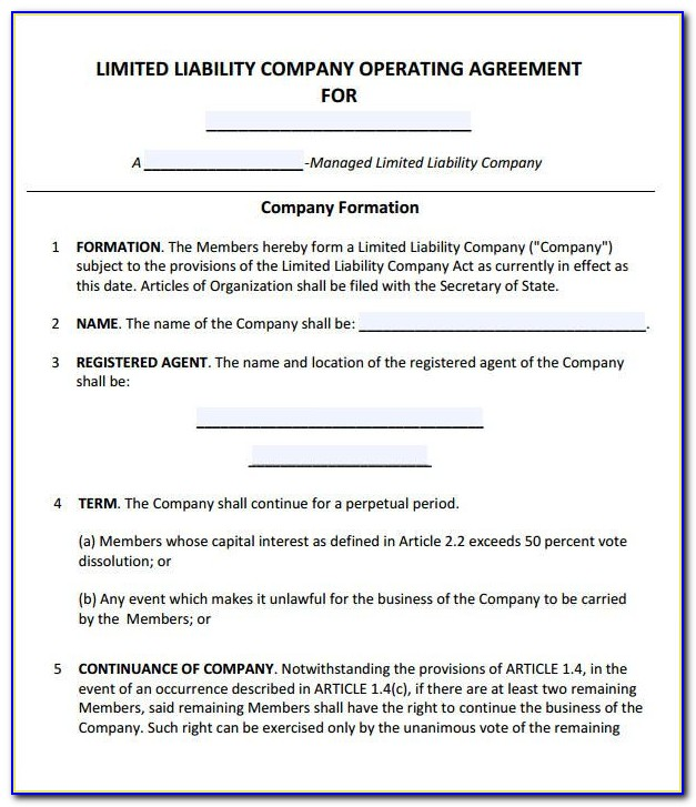 Manager Managed Llc Operating Agreement