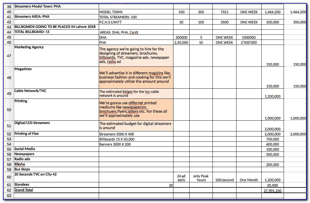 Marketing Plan Sample Xls