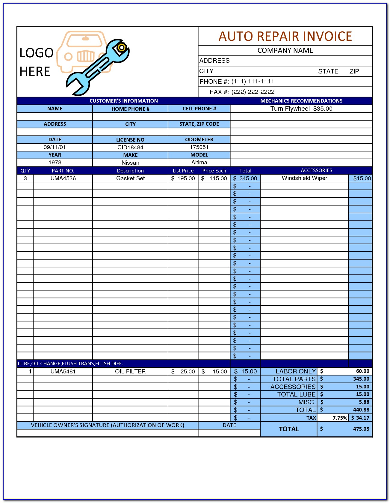 Mechanic Invoice Template Word
