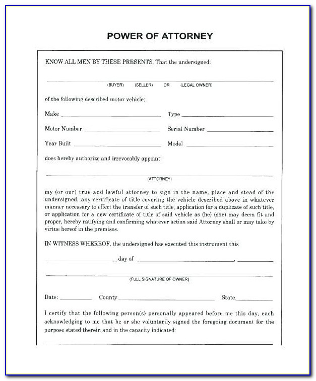 Medical Power Of Attorney Word Template