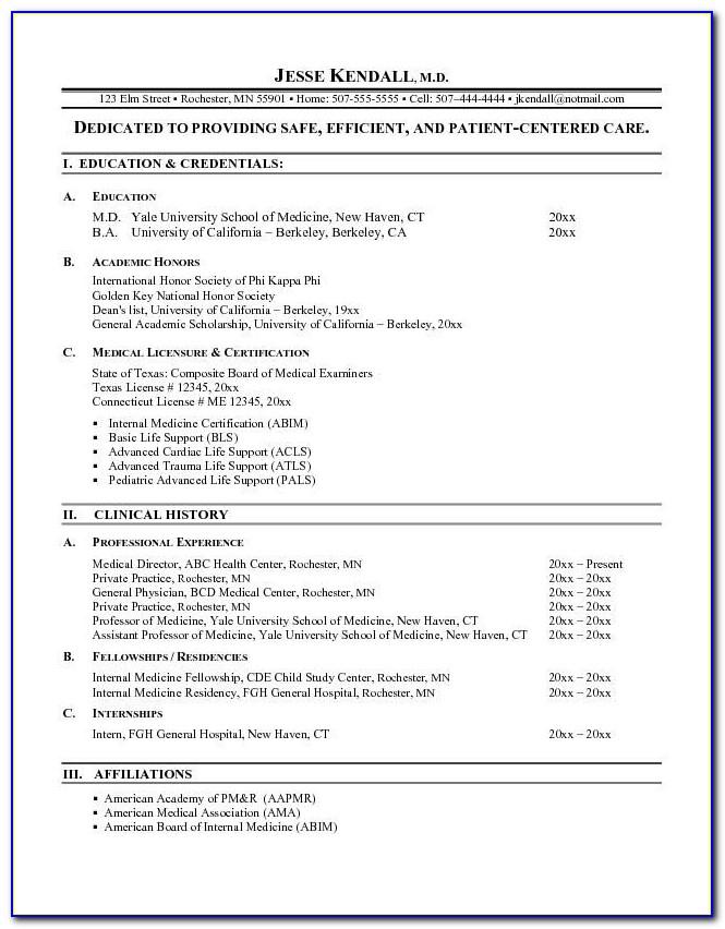 Medicine Resume Template