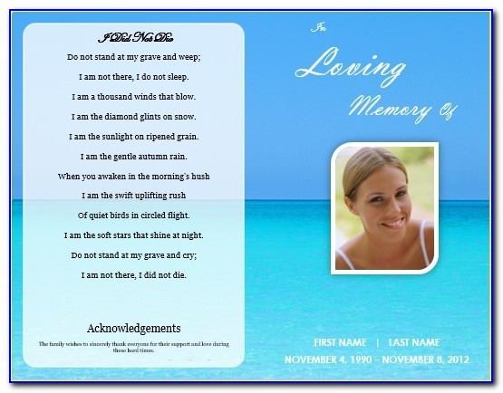 Ocean Funeral Obituary Program Template For Microsoft Word