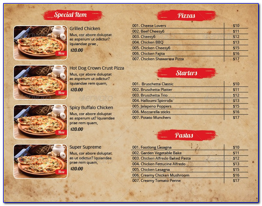 Menu Flyer Template Download