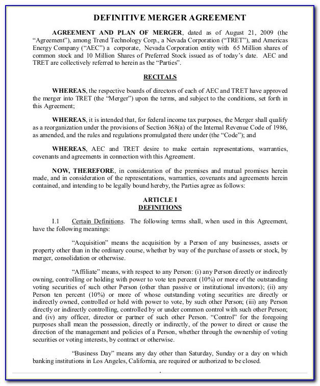 Merger Agreement Form