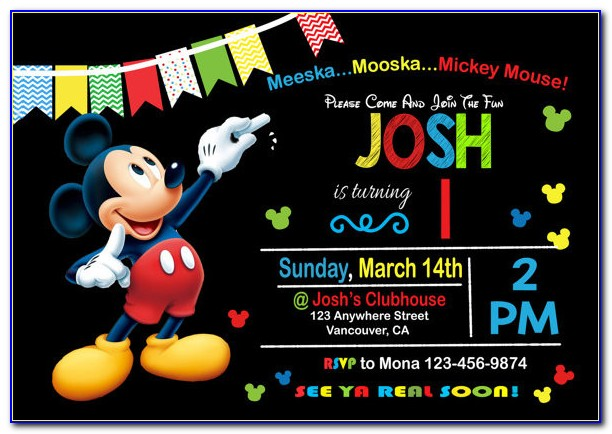 Mickey Mouse 1st Birthday Invite Template