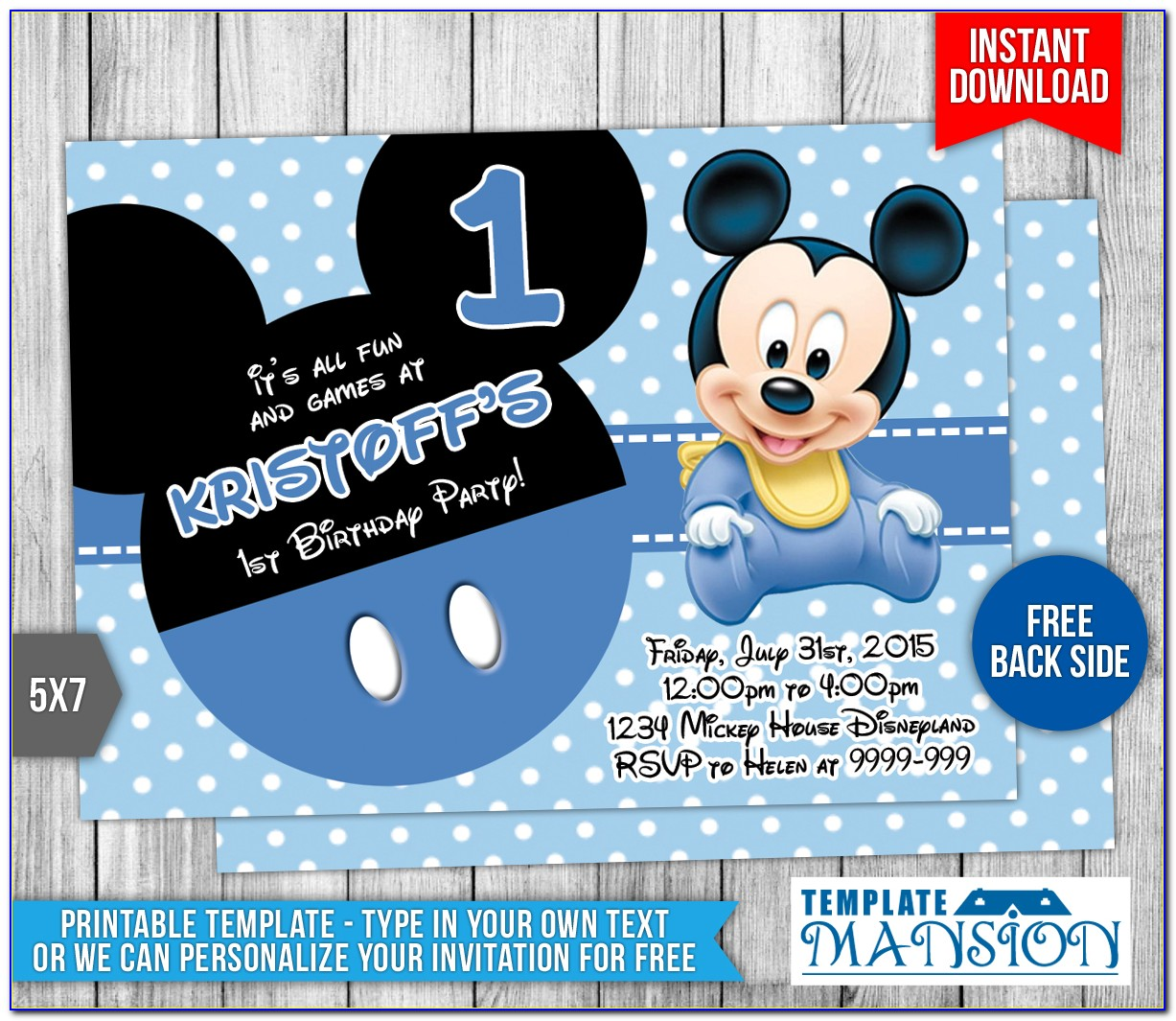 Mickey Mouse Baby Shower Invitation Template Free