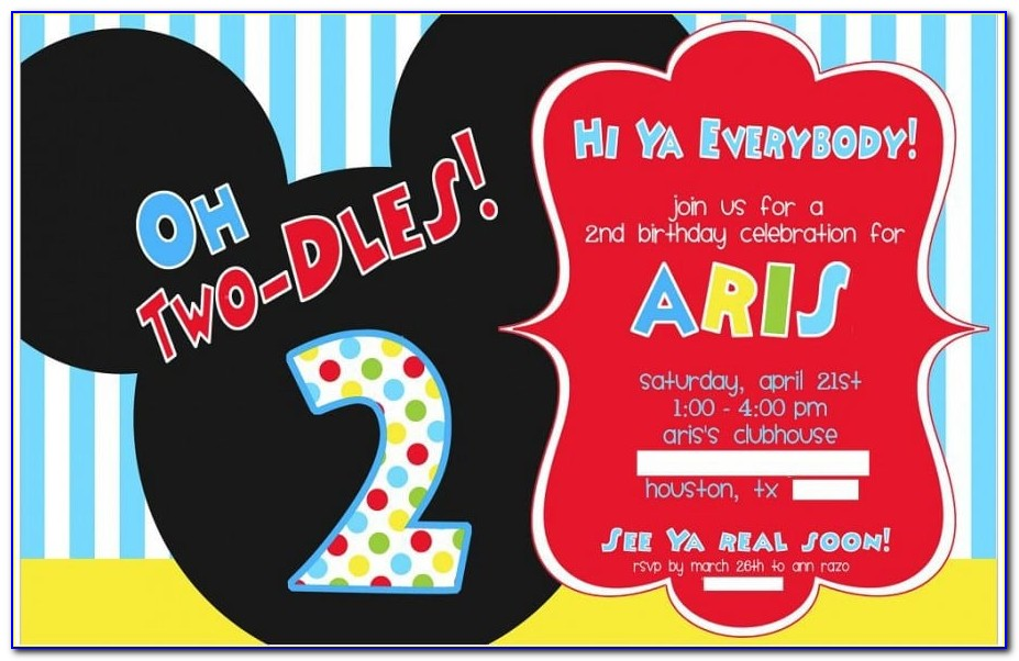Mickey Mouse Clubhouse Party Invitations Free Template