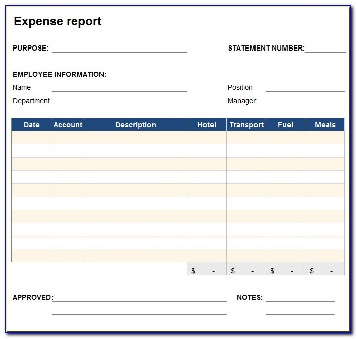 Microsoft Excel Monthly Expense Report Template