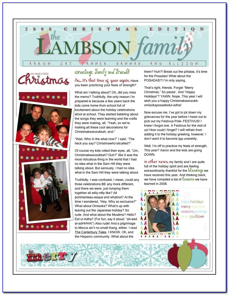 Microsoft Word Family Christmas Newsletter Templates