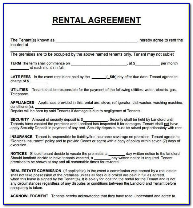 Microsoft Word Rental Agreement Template