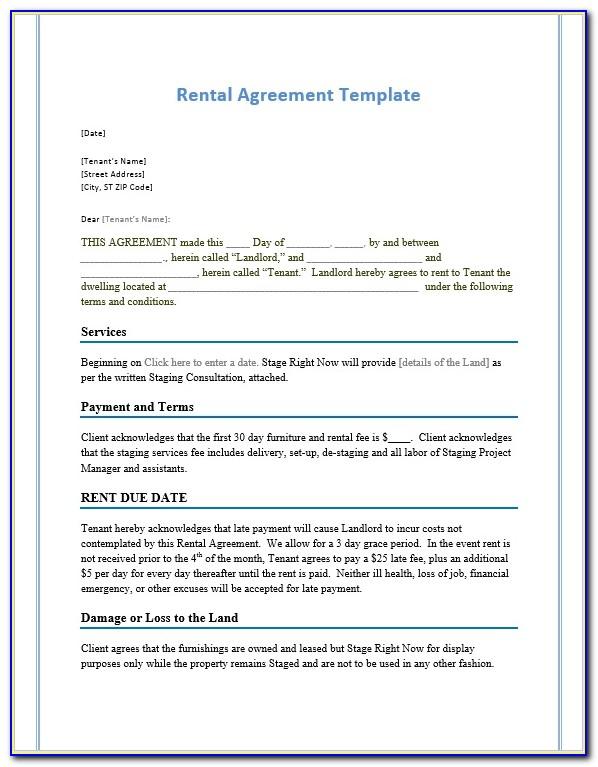 Microsoft Word Room Rental Agreement Template