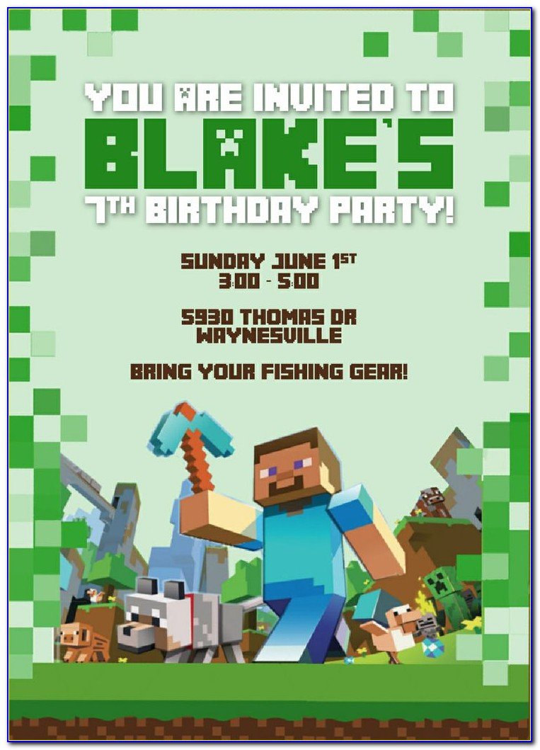 Minecraft Birthday Party Invitations Templates Free