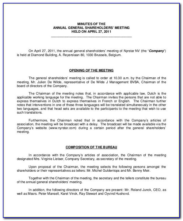 Minutes Of Annual General Meeting Format