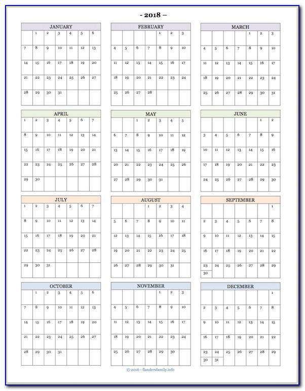 Month At A Glance Calendar Template