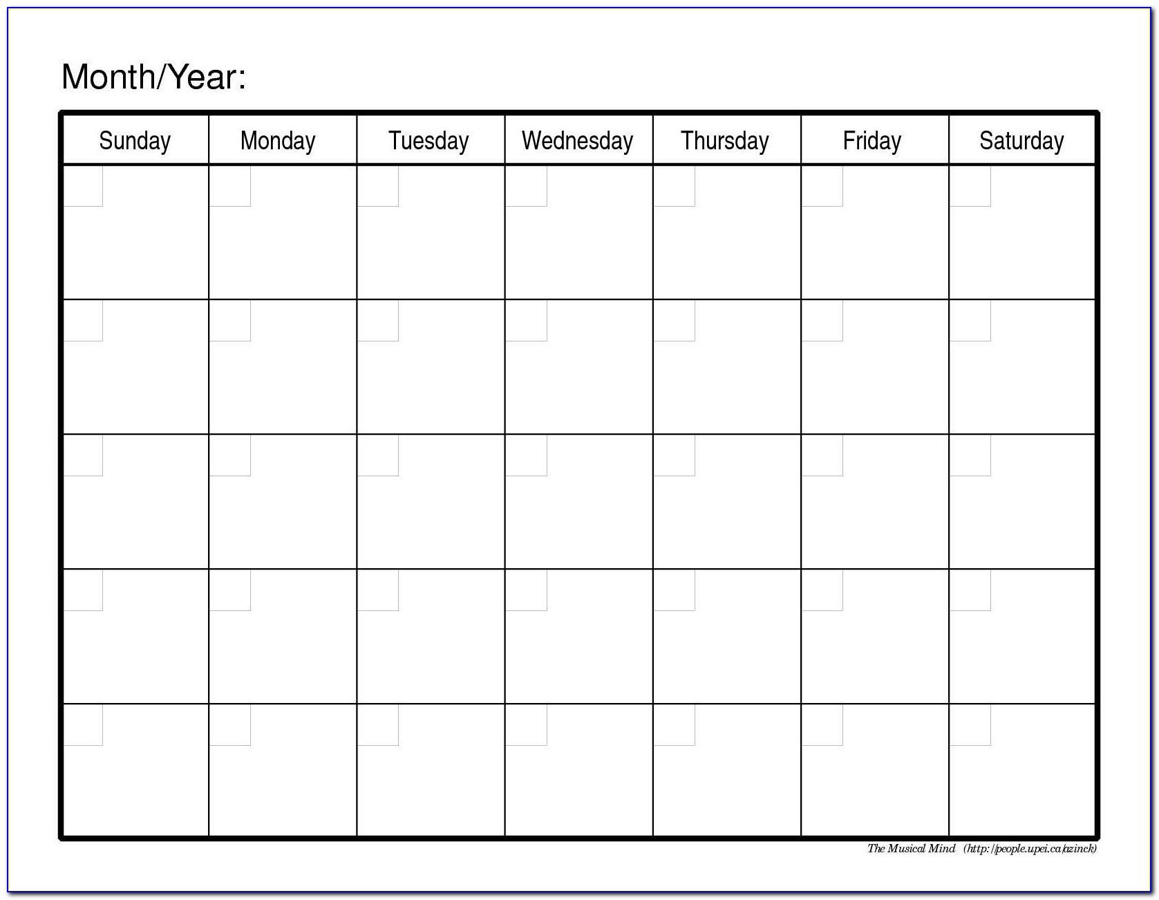 Monthly Agenda Calendar Template