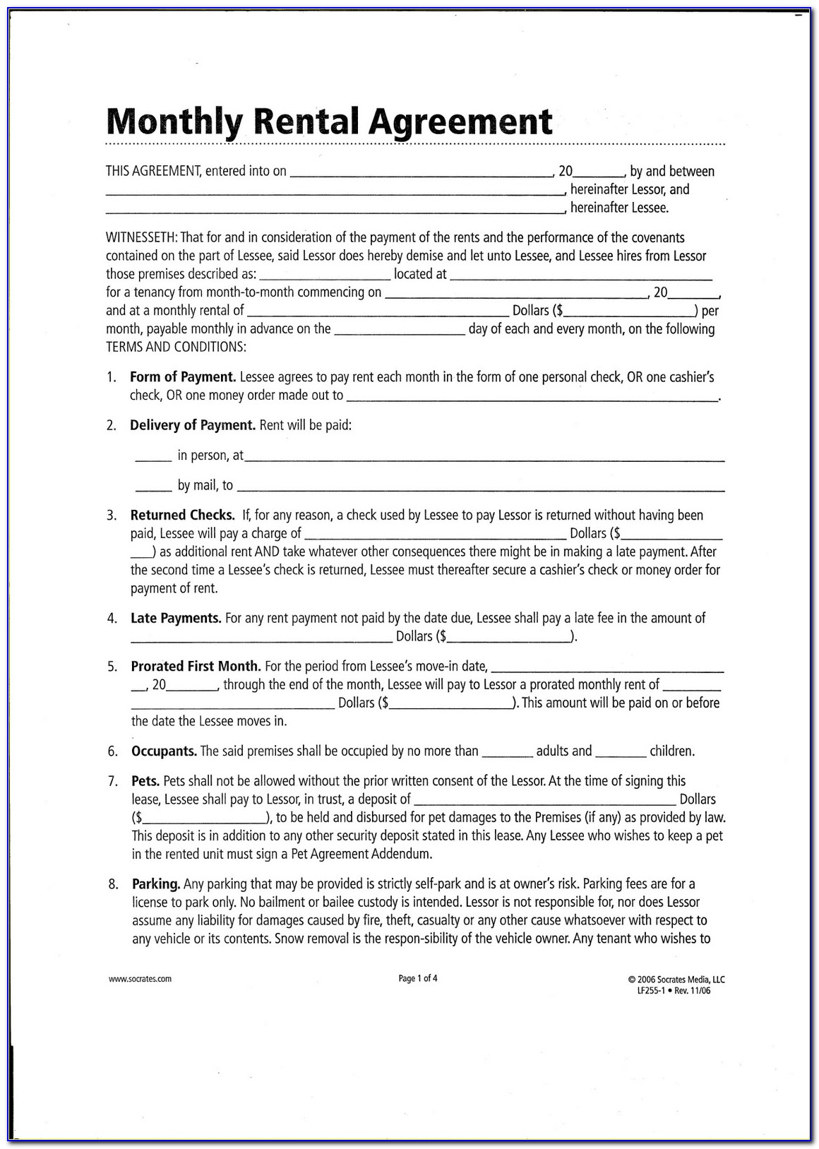 Monthly Rental Agreement Contract