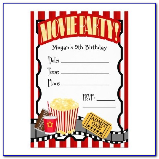 Movie Birthday Invitation Templates Free