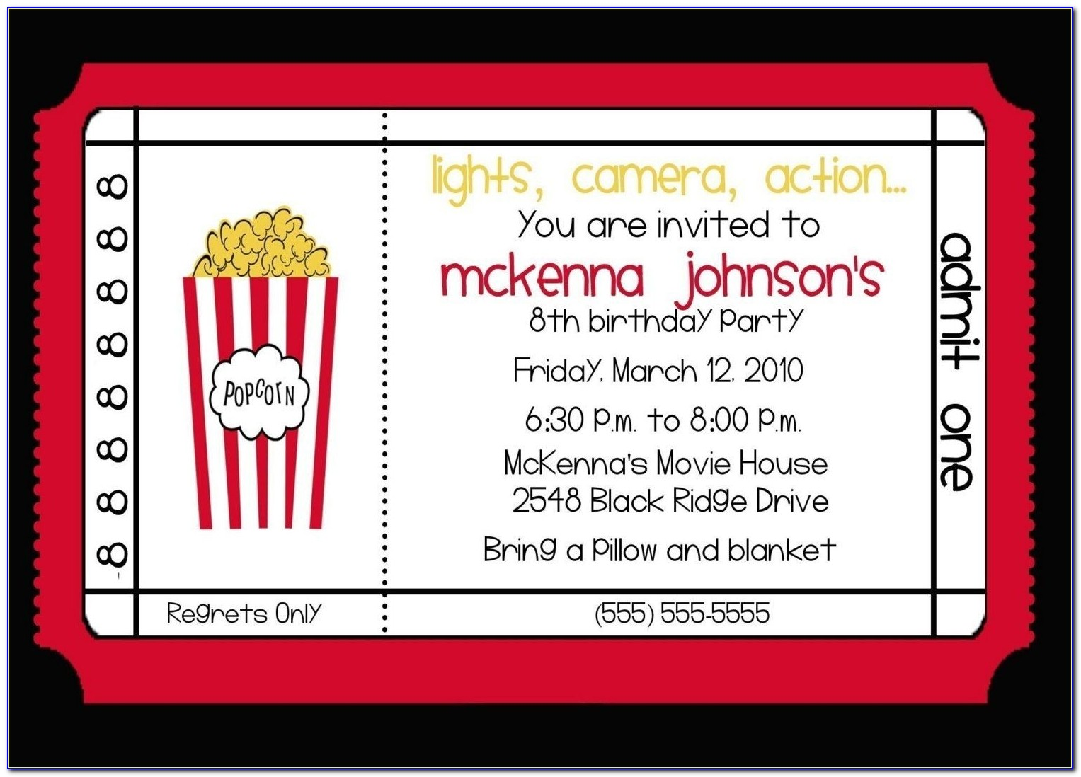 Movie Birthday Invitations