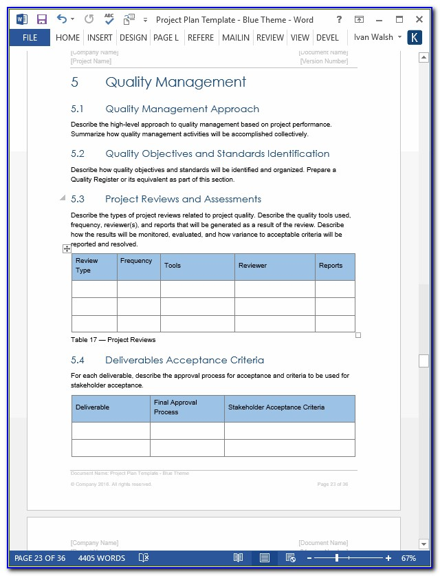 Ms Word Project Management Related Template