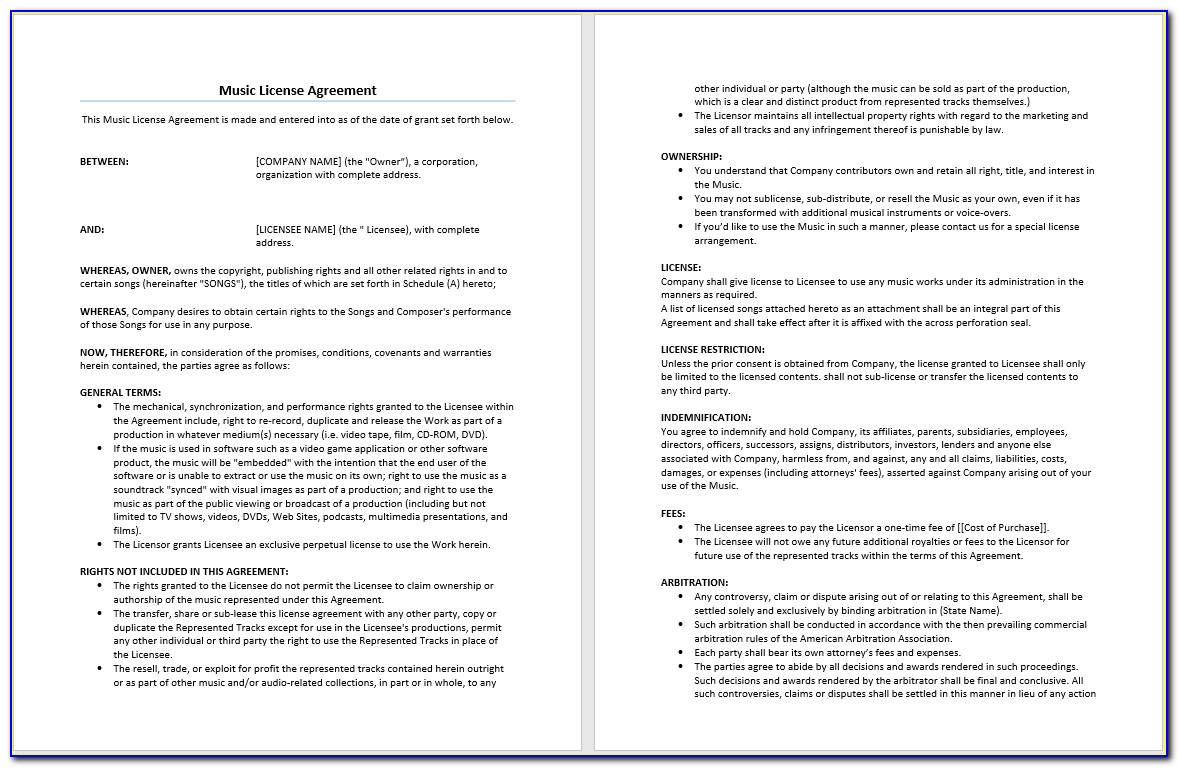 Music License Agreement Template Doc