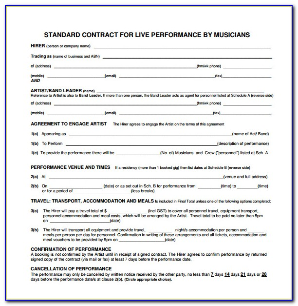 Music Performance Agreement Template