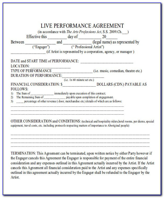Music Performance Contract Template Uk