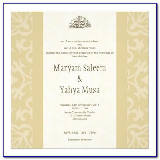 Muslim Wedding Invitation Card Template