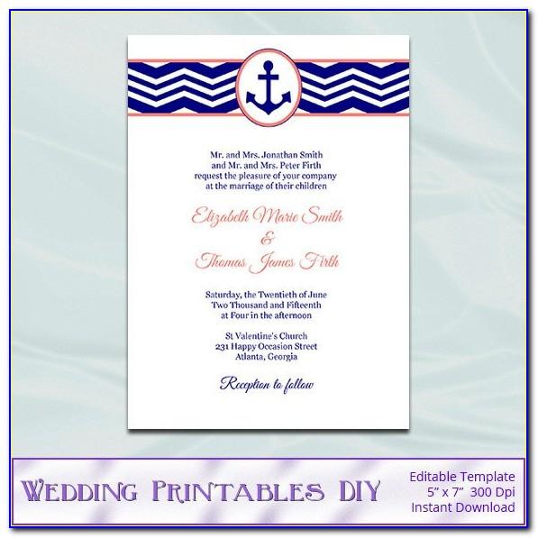 Nautical Wedding Invitation Wording Samples