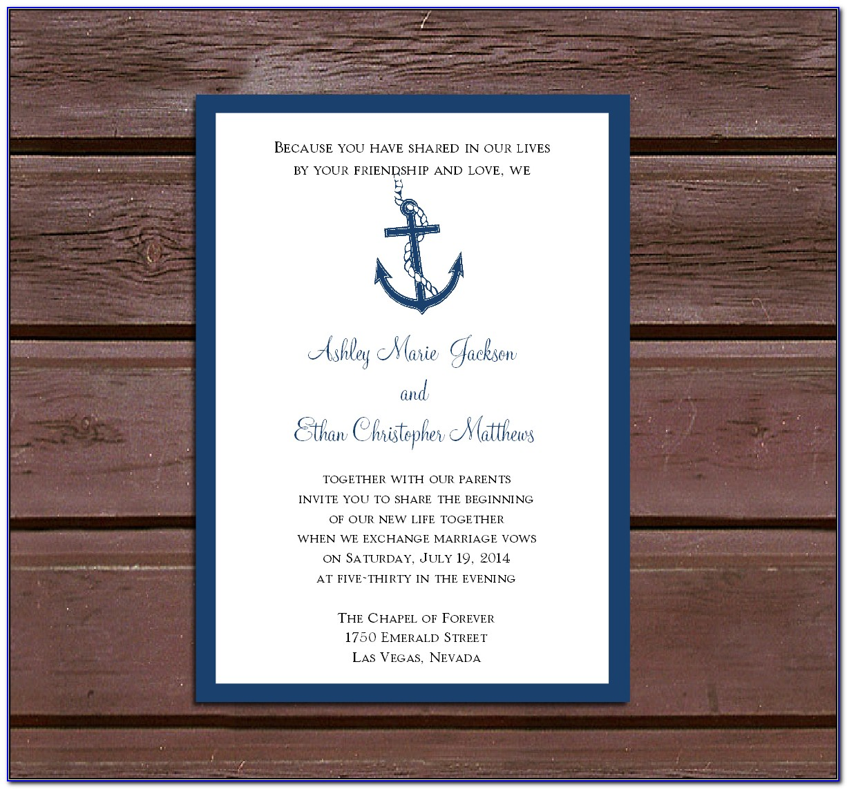 Nautical Wedding Invitations Templates
