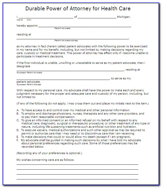 Nc Health Care Power Of Attorney Forms
