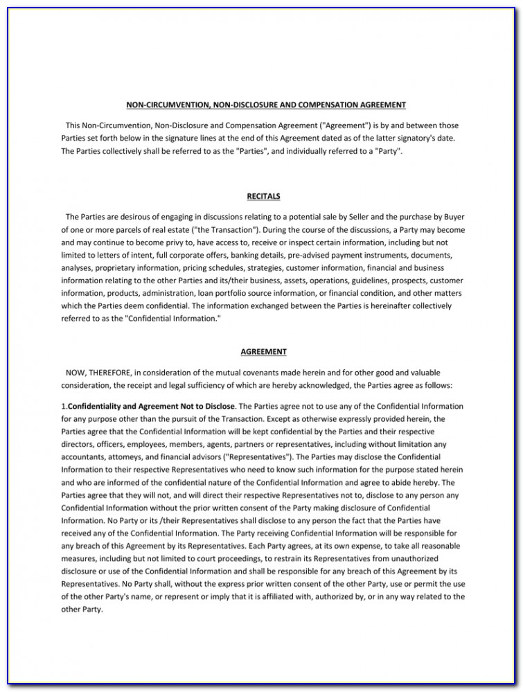 Ncnd Agreement Form