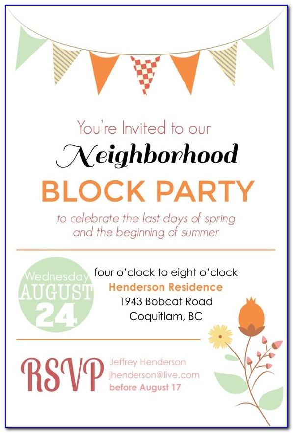 Neighborhood Block Party Invitation Template Free