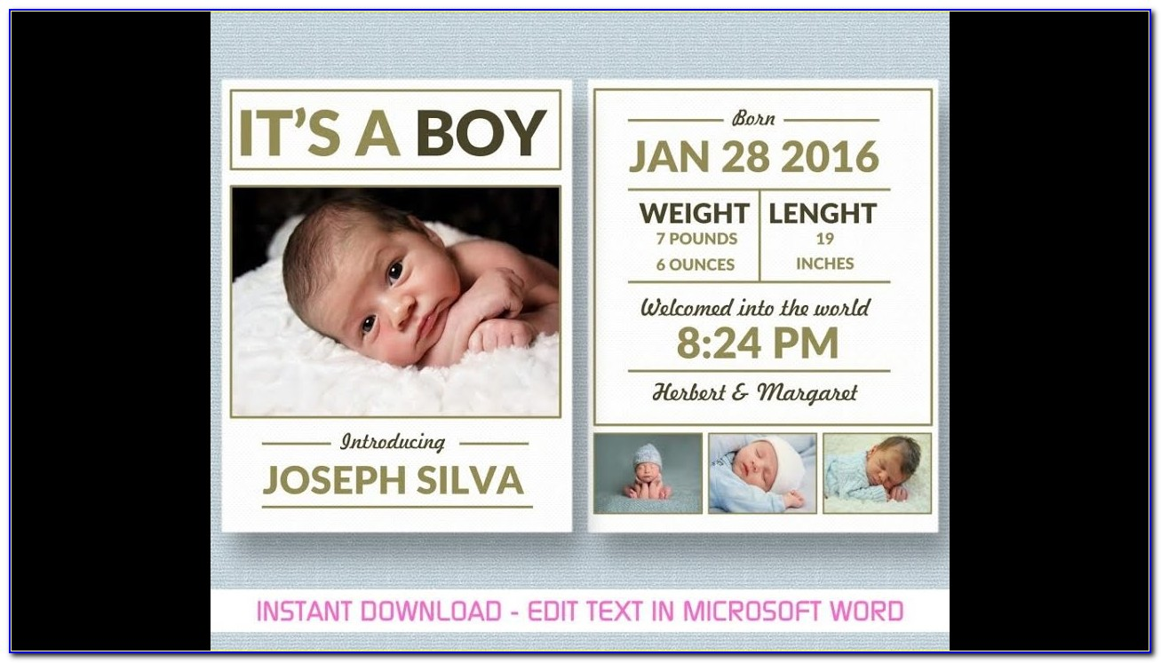 New Baby Boy Announcement Template