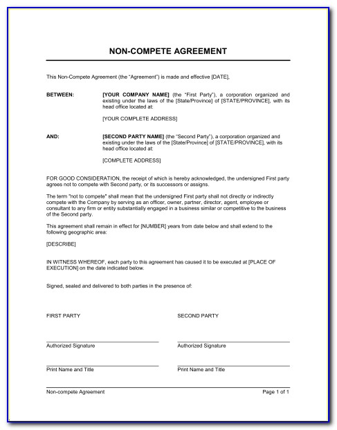 No Compete Contract Template