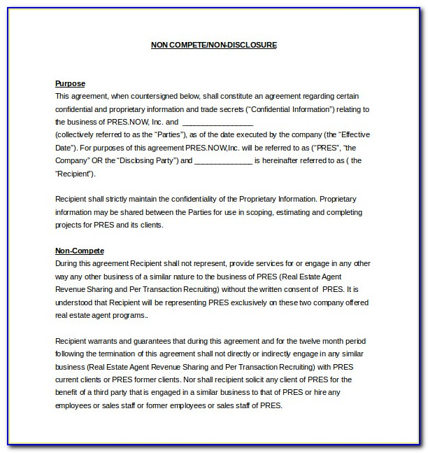 Non Compete Agreement Between Two Companies Template