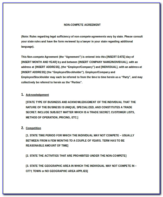 Non Compete Agreement Template Between Companies
