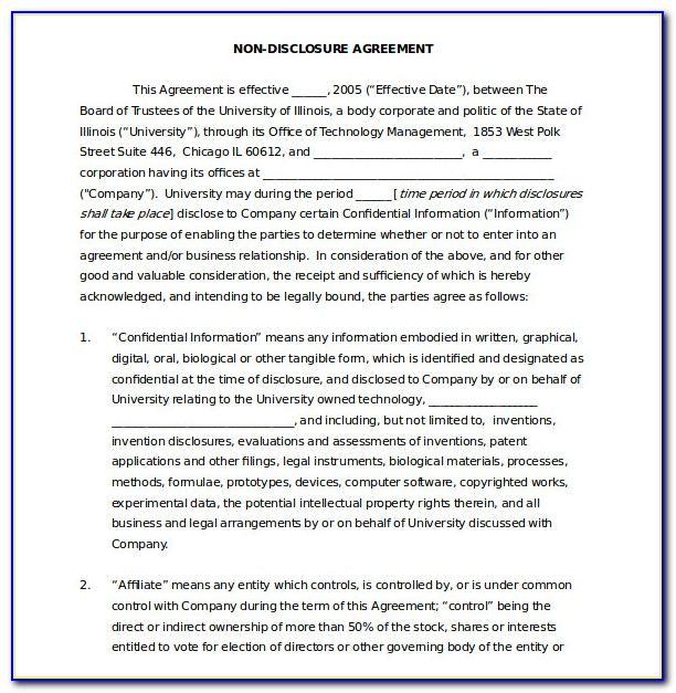Non Disclosure Agreement For Patent
