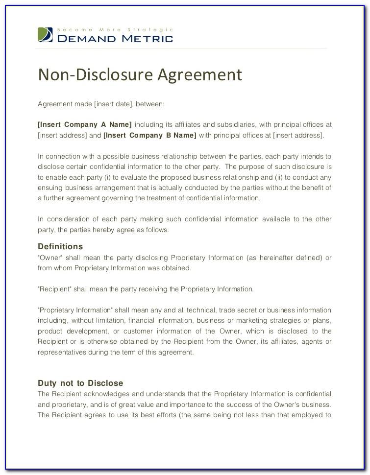 Non Disclosure Agreement Free Template Canada