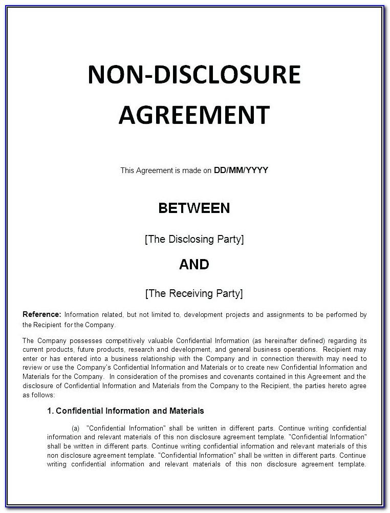 Non Disclosure Agreement Patent