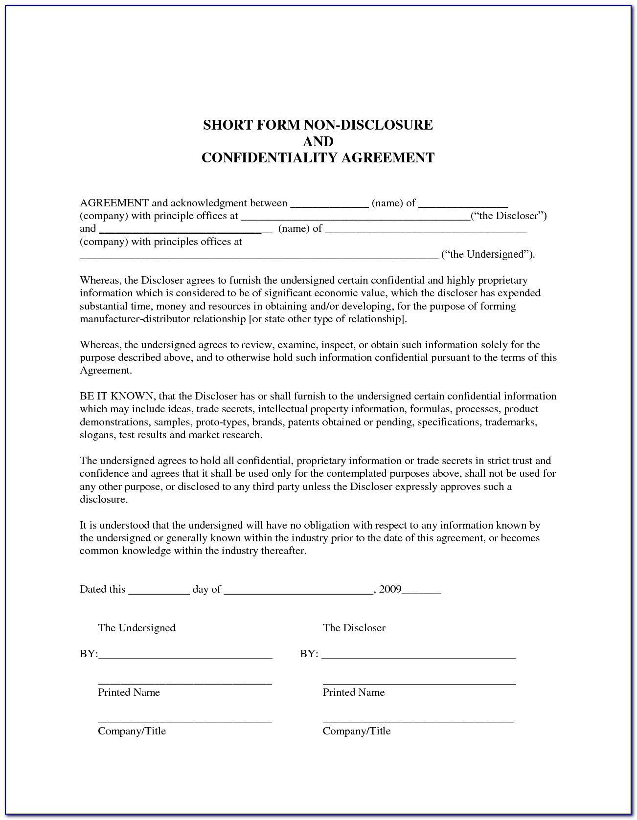 Non Disclosure Confidentiality Agreement Free Template Nz