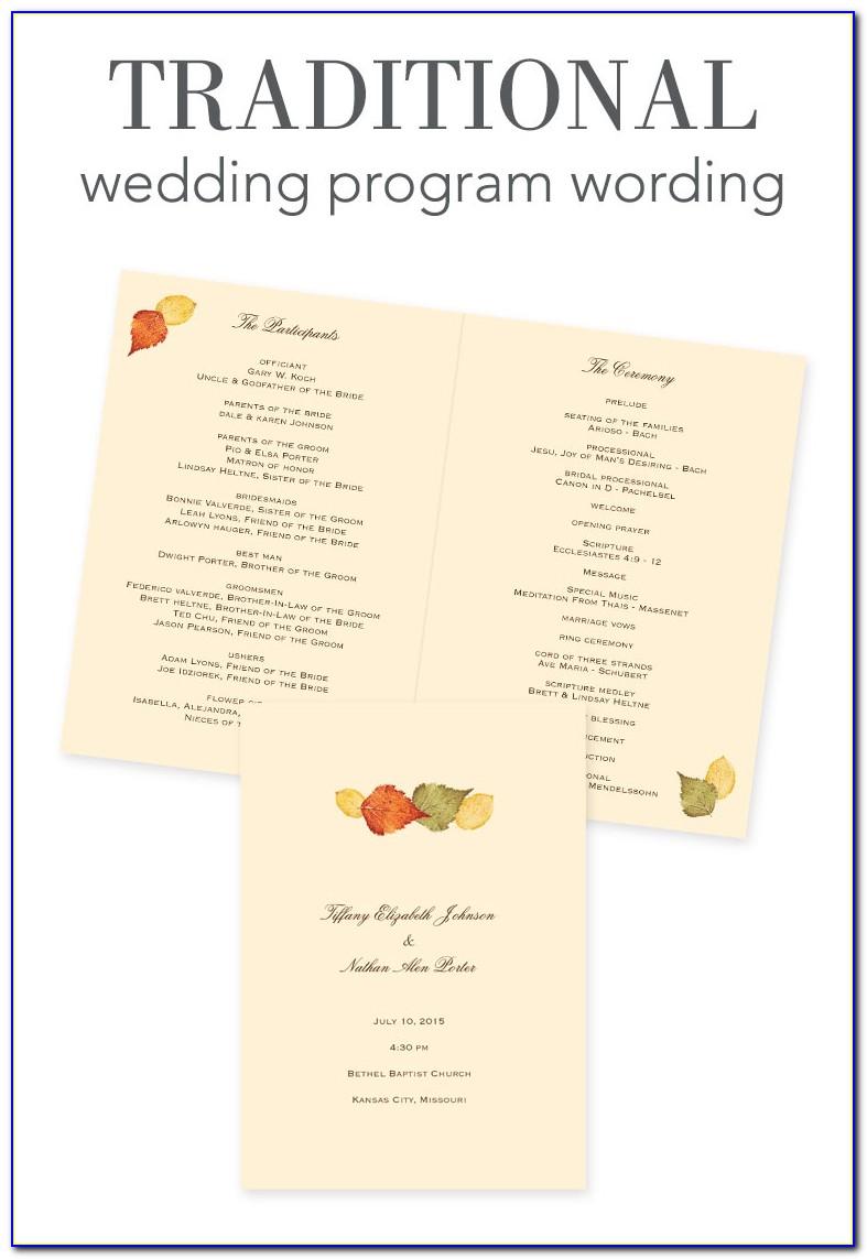 Non Traditional Wedding Program Examples