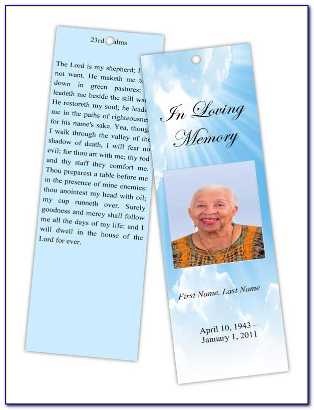 Obituary Bookmark Template Free