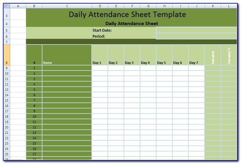 Office Daily Attendance Sheet Template