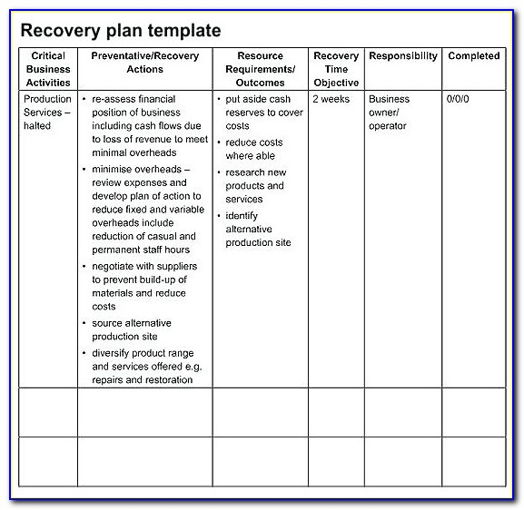 Oracle Disaster Recovery Plan Document Template