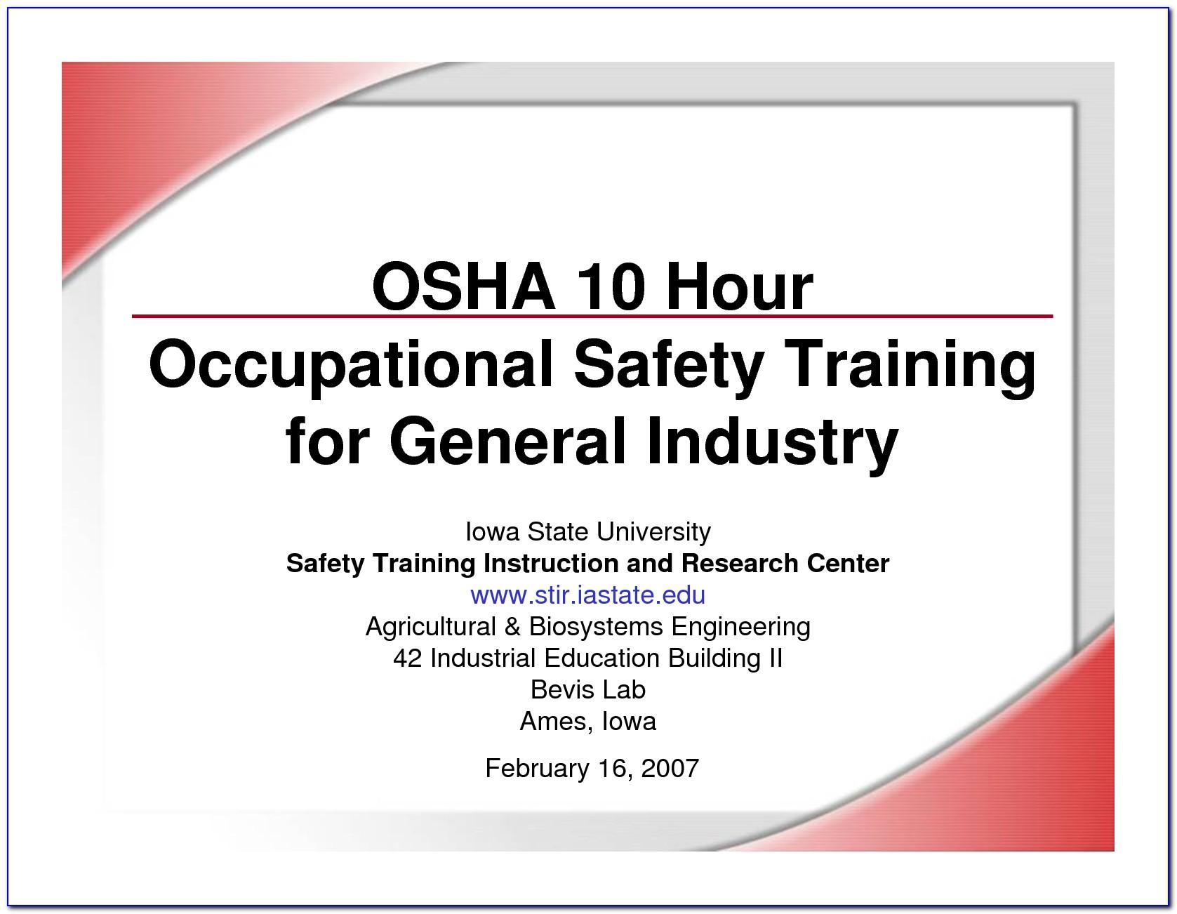 Osha 10 Certificate Template