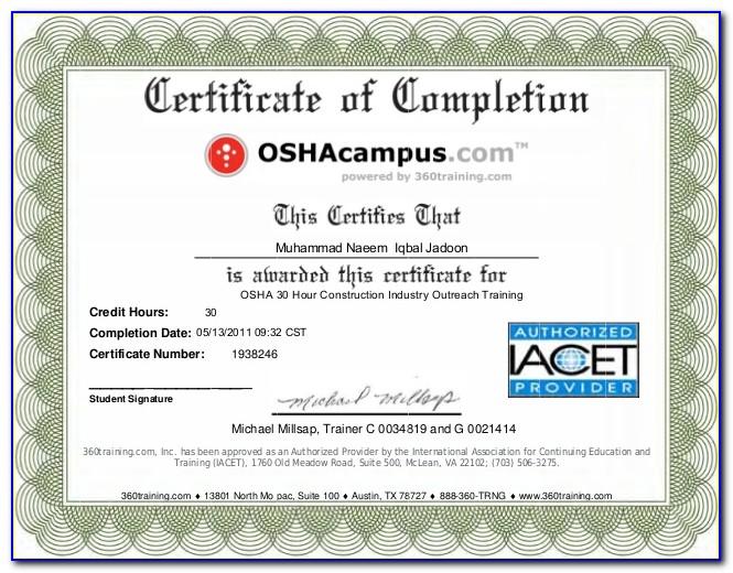 Osha 10 Hour Certificate Template