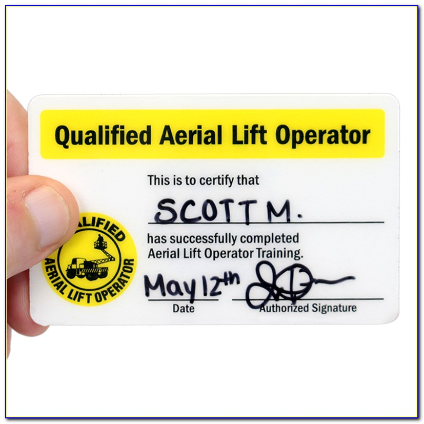 Osha Forklift Certification Card Template