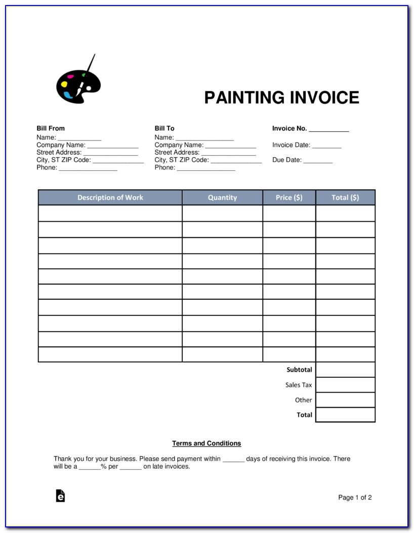 Painting Invoice Template Word