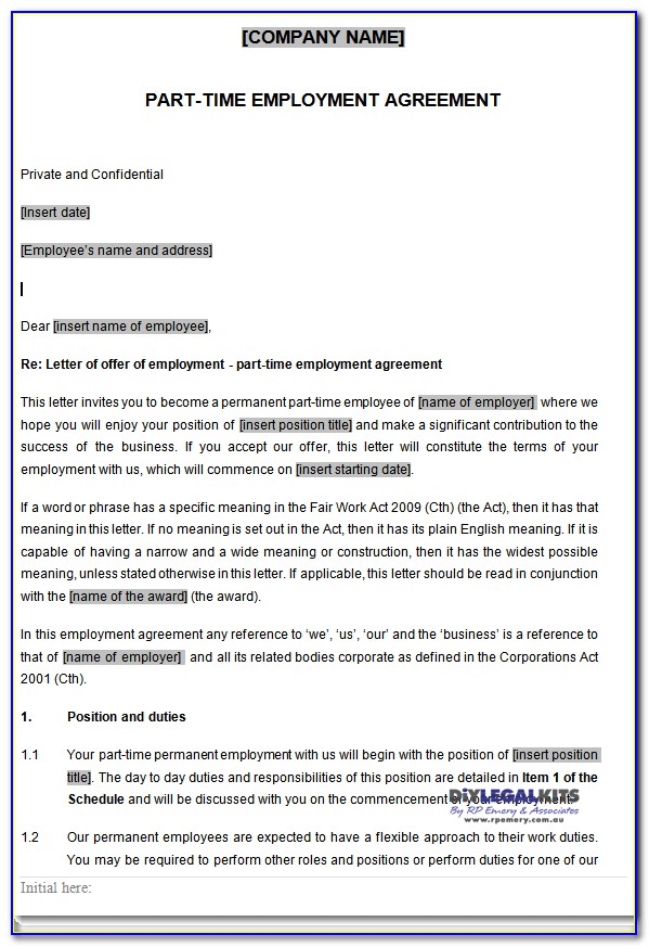 Part Time Employment Contract Template Australia